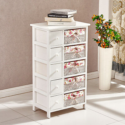 Wooden White Shabby Chic Chest of Drawers Wicker Baskets Storage Cabinet Bedroom