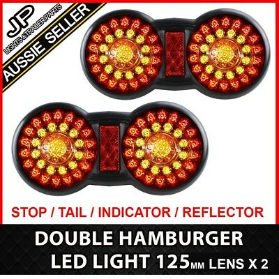 2 X Led Tail Light Round Trailer Lights Rear Double 12V Truck Caravan Ute 4Wd