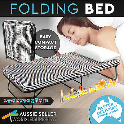 Folding Bed Portable Single Size Cot Deluxe With Mattress Camping Outdoor Indoor