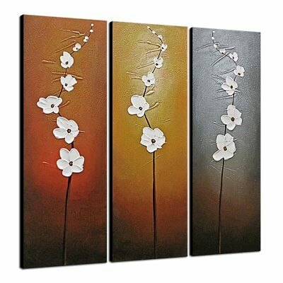 Original Framed Art Oil Painting on Canvas Home Office Wall Decor Flowers Framed
