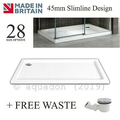 Slimline 35mm Rectangle Square Shower Enclosure Tray Stone Resin Free Waste Trap