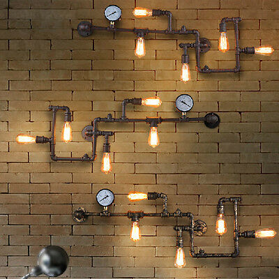 Vintage Industrial Steampunk Wall Lamp Retro Wall Light Rustic Pipe Light Edison