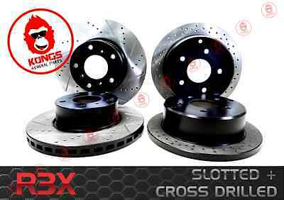 R3X Front + Rear Cross Drilled Slotted Disc Brake Rotors Commodore Vt Vx Vu