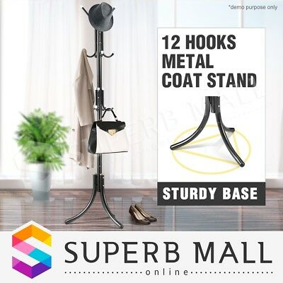 12 Hooks Metal Coat Stand Hat Bag Clothes Umbrella Rack Black