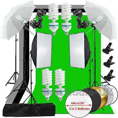 Photo Studio Softbox Continuou Lighting Kit Umbrella Backdrop Background Stand