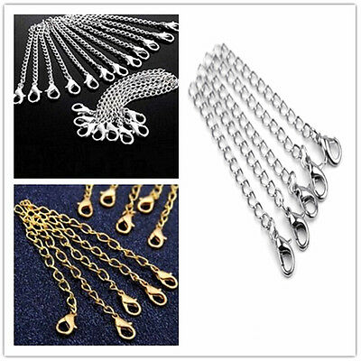 10pc DIY Silver Gold Necklace Extender Jewelry Extension Chain 75mm with Clasp
