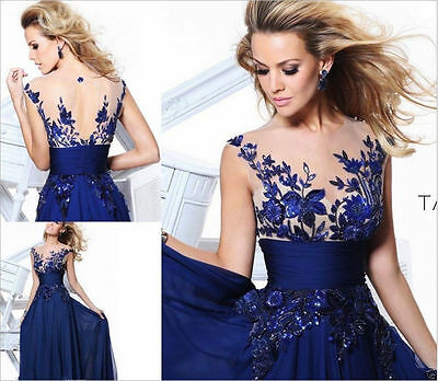 Women Bridesmaid Lace Ball Prom Gown Formal Evening Party Cocktail Long Dress