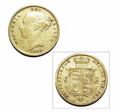 Pre-Owned 1885 Half Sovereign 22ct Gold Coin. Queen Victoria Young Head & Shield