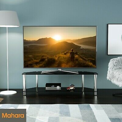"""Black Gloss Glass TV Stand 140cm width, Suitable for LCD LED TVs Up To 60"""""""