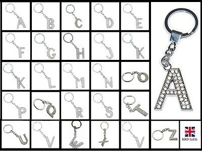 A-Z LARGE DIAMOND LETTER KEYRING Alphabet Bling Name Key Ring Crystal Chain Gift
