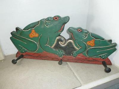 """Vintage Hand Carved Painted Frog 18"""" Wall Hooks"""