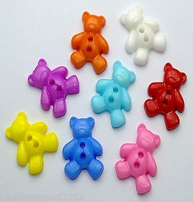 20 NOVELTY 2 HOLE ACRYLIC TEDDY BEAR BUTTONS 19mm Scrapbooking Sewing Crafts
