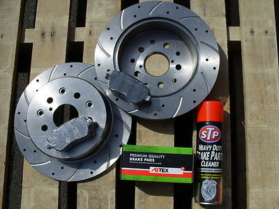 Mitsubishi L200 2.5 DiD Front 294mm Drilled & Grooved Brake Discs & Abtex Pads