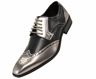 Amali Mens Two-Toned Black & Metallic Silver Dress Shoe with Wing-Tip: 5846-211