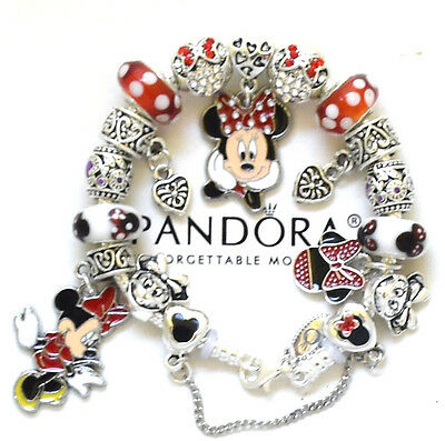Pandora 925 Silver Bracelet and European Charms Disney Minnie Mickey Red New USA