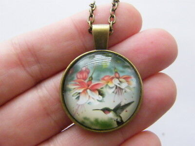 1 Humming bird cabochon necklace bronze tone NB16