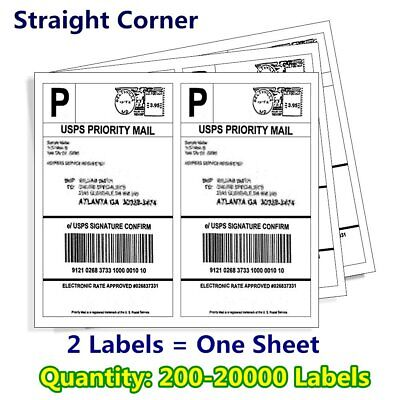 200-20000 8 5X5 5 SHIPPING Mailing Labels Half Sheet Self Adhesive for UPS  FedEX