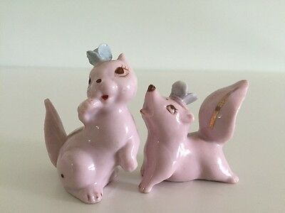 VTG Pink Skunks Blue Flowers Anthropomorphic Japan Porcelain Ceramic Figurines