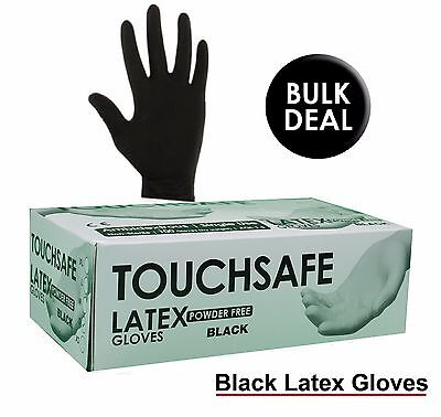 Heavy Duty Powder Free Disposable BLACK LATEX Gloves Tattoo Mechanic Boxed x100