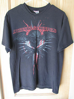Avenged Sevenfold Vintage Black Large Graphic Band T-Shirt Men's Size Medium Guc