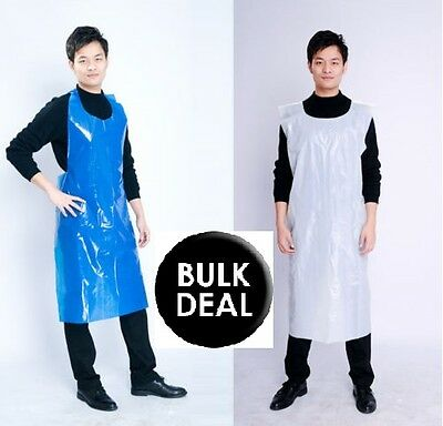 Disposable Plastic Aprons Polythene Aprons Eco Flat Pack White & Blue Colors
