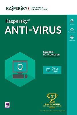 Kaspersky Anti Virus 2016 - 3 Pc Device - 2 Years - New - Download