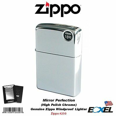 Zippo 250, High Polish Chrome Lighter, Mirror Perfection, Genuine Windproof