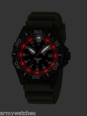 Police Military Tactical Army Watch Red Trigalights Date Diver Band German Watch
