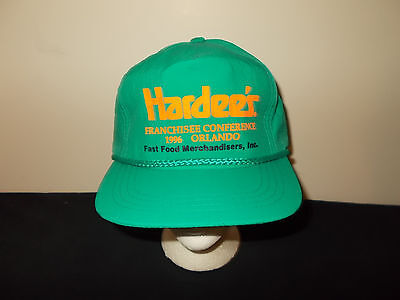 VTG-1990s Hardees Carls Jr Restuarants Franchisee Orlando rope teal hat sku29