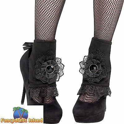 GOTH PUNK SHOE BOOT COVERS - one size- halloween ladies womens fancy dress