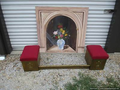 Antique Victorian Hammered Brass Fireplace Fender with Storage Seats