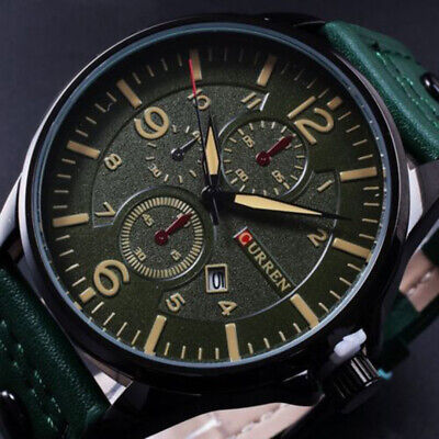 CURREN Men Fashion Military Leather Strap Analog Date Sport Quartz Wrist Watches