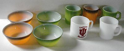 Vintage Lot of 9 Anchor Hocking Fire-King Mugs / Cups / Bowls - Various Colors