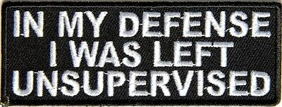 IN MY DEFENSE I WAS LEFT UNSUPERVISED - IRON or SEW-ON PATCH