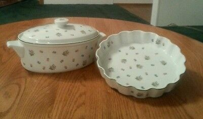 2 Price Set By Andrea Petite Fleur Quiche Dish and Casserole Dish /With Lid