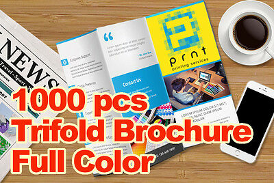 1000 Trifold Brochure on 100 lbs Gloss Paper with Aqueous Coating