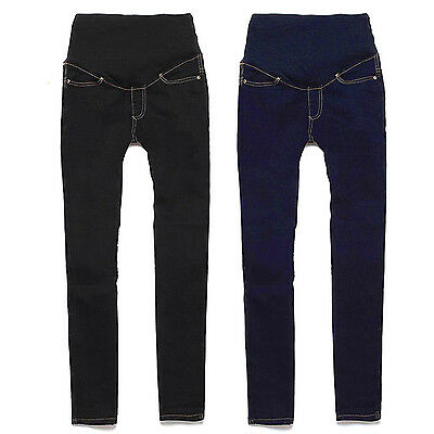 Women Maternity Skinny Trousers Jeans Over Bump Pregnancy