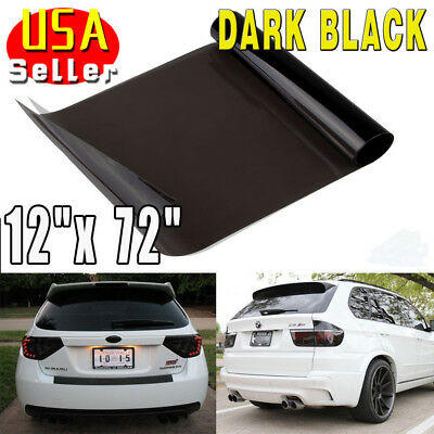 "12""x72"" 20% Gloss Dark Black Smoke Headlight Taillight Fog Light Tint Film Vinyl"