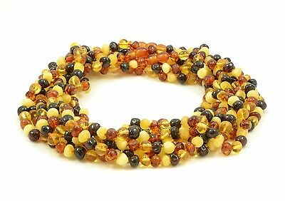 Wholesale Lot of 10 Baltic Amber Adult Necklaces, Knotted, MultiColor, 45 cm