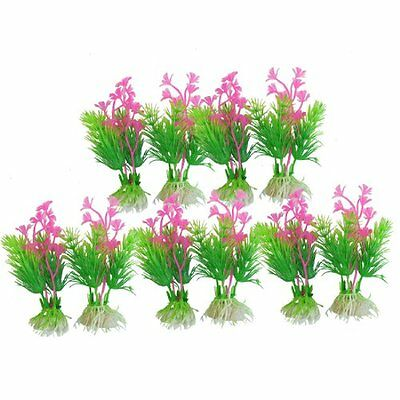 Sourcingmap Plastic Aquarium Manmade Plants, 4.3-inch, 10 Pieces, Green  Fuchsia