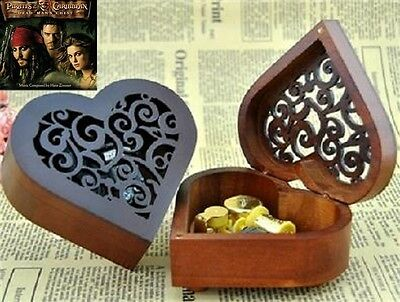 HEART WOOD CARVING MUSIC BOX  : Pirates of the Caribbean Davy Jones