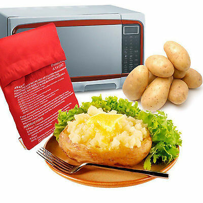 4 Minutes Potato Express Microwave Cooker Bag Red Fast Reusable Washable Tool