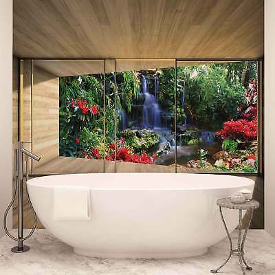 WALL MURAL PHOTO WALLPAPER XXL Window Waterfall Forest Flowers Nature (3313WS)