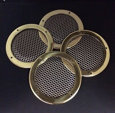 4 x Round brass grills, canal boat, cruiser, river, narrow boat.