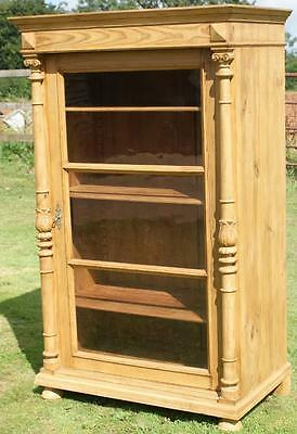 LATE 19th CENTURY ANTIQUE GERMAN PINE DISPLAY CABINET  / BOOKCASE