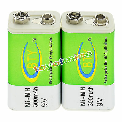 2x 9V 9 Volt 300mAh BTY Green Ni-Mh Rechargeable Battery