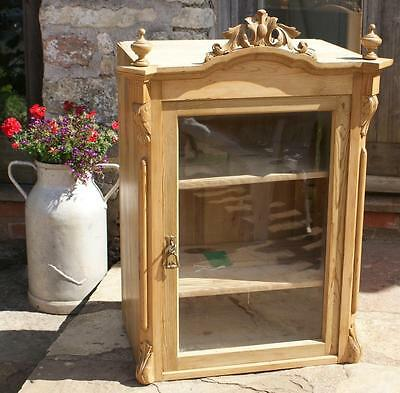 LATE 19th CENTURY ANTIQUE HUNGARIAN PINE DISPLAY CABINET  / BOOKCASE