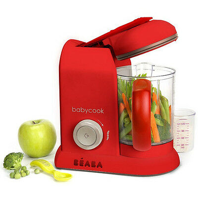 NEW Beaba Babycook Solo Red Baby Food Processor Steam Cook Blend Defrost Heat