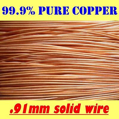 10MTS and 80MTS SOLID BRIGHT 99.9% PURE COPPER WIRE, .91mm = 20G SWG = 19G AWG
