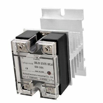 DC 3-32V to AC 24-480V Solid State Relay SSR 10A w Silver Tone Heat Sink
